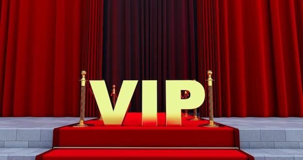 Tappeto rosso sulle scale con scritta vip dorata. il percorso verso la gloria. le scale salgono. successo aziendale. tappeto di velluto rosso. Foto Premium