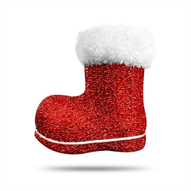 Calza rossa di natale con struttura lucida isolata. calza o scarpe di natale. Foto Premium