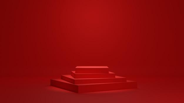Sfondo rosso podio minimo 3d rendering Foto Premium