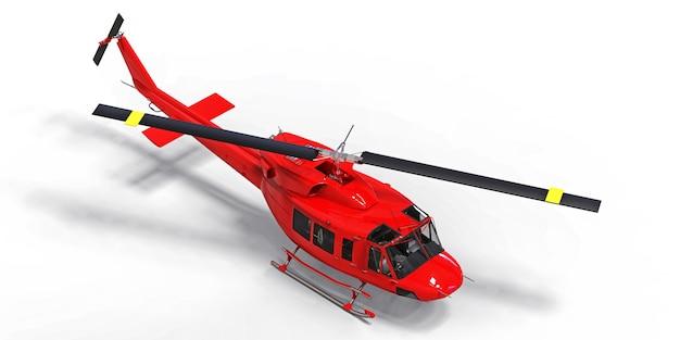 Piccolo elicottero militare rosso di trasporto su spazio isolato bianco. il servizio di salvataggio in elicottero. taxi aereo elicottero per polizia, vigili del fuoco, ambulanza e servizio di salvataggio. illustrazione 3d Foto Premium