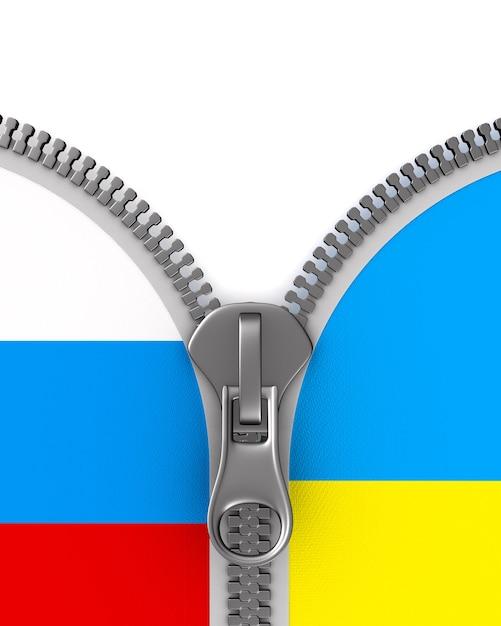 Relazioni tra russia e ucraina su bianco Foto Premium