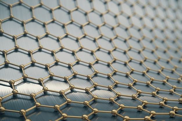 Primo piano esagonale della forma geometrica di nanotecnologia dell'oro della rappresentazione Foto Premium