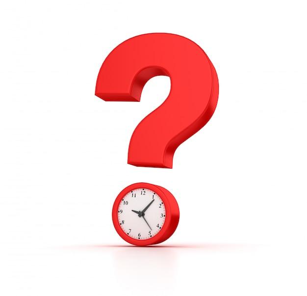 Illustrazione della rappresentazione dell'orologio con il punto interrogativo Foto Premium