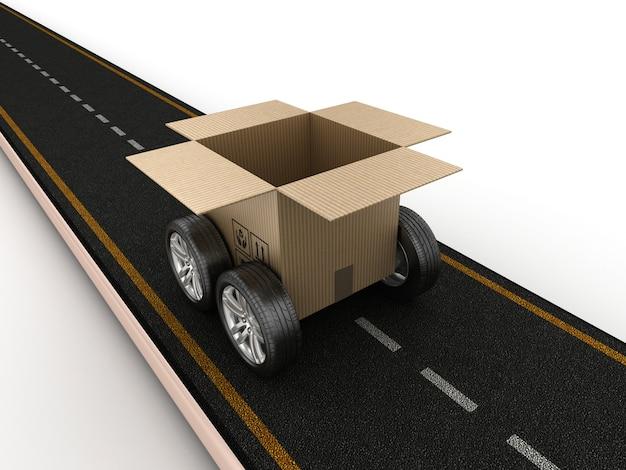 Illustrazione della rappresentazione della strada con la scatola di cartone sulle ruote Foto Premium