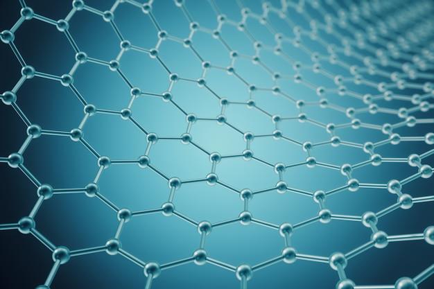 Rendering nanotecnologia esagonale forma geometrica close-up Foto Premium