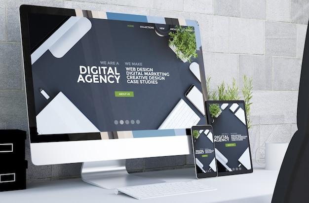Dispositivi reattivi che mostrano il sito web dell'agenzia digitale reattiva sul rendering 3d desktop Foto Premium