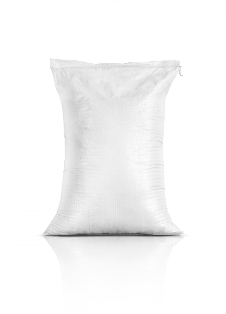 Sacco di riso, prodotto agricolo isolato su sfondo bianco Foto Premium