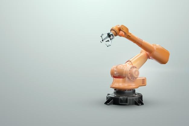 Manipolatore del braccio robotico in fabbrica. tecnologia di automazione industriale. concetto di tecnologia iot, fabbrica intelligente. operazione di produzione digitale. rendering 3d, illustrazione 3d. Foto Premium