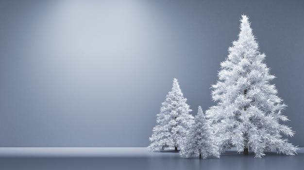 Interno della camera vacanze di natale abete sfondo rendering 3d illustrazione Foto Premium