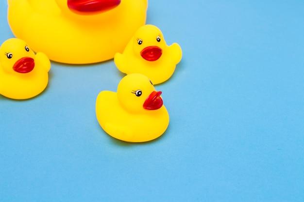 Giocattolo di gomma di colore giallo mamma-anatra e piccoli anatroccoli su sfondo blu. il concetto di assistenza materna e amore per i bambini, l'educazione e l'educazione dei bambini Foto Premium