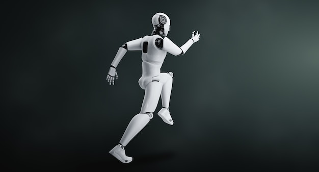 Robot umanoide in esecuzione che mostra movimenti rapidi ed energia vitale nel concetto di sviluppo futuro dell'innovazione verso il cervello ai Foto Premium