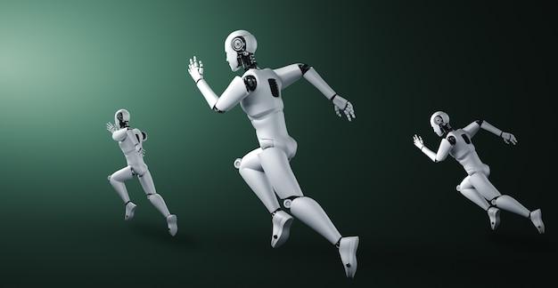 Esecuzione di umanoide robot che mostra movimento veloce ed energia vitale nel concetto di innovazione futura Foto Premium