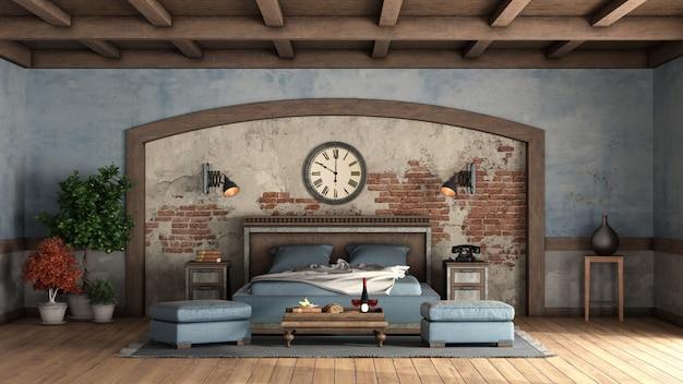 Camera matrimoniale rustica con pareti antiche e letto matrimoniale in legno Foto Premium
