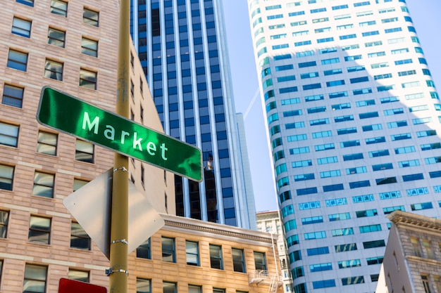 San francisco market street downtown in california Foto Premium