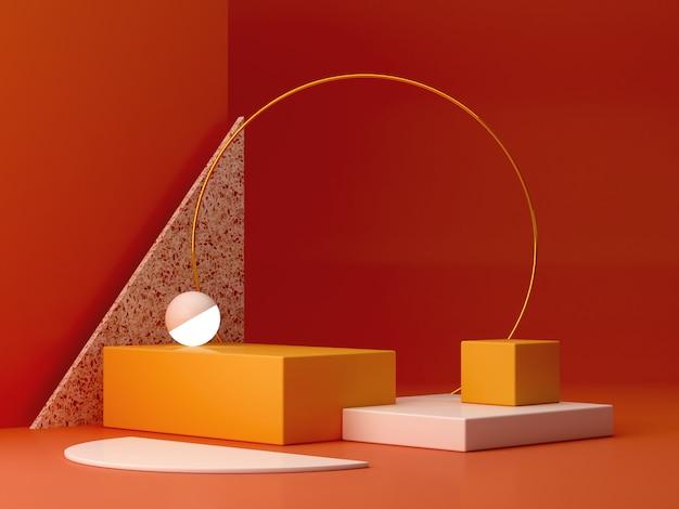 Scena con forme geometriche con podio vuoto. forme geometriche Foto Premium