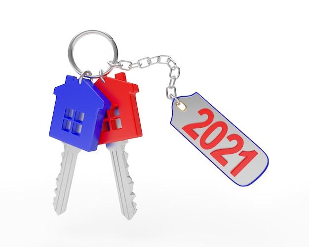 Set di chiavi luminose con numero 2021 su un portachiavi Foto Premium