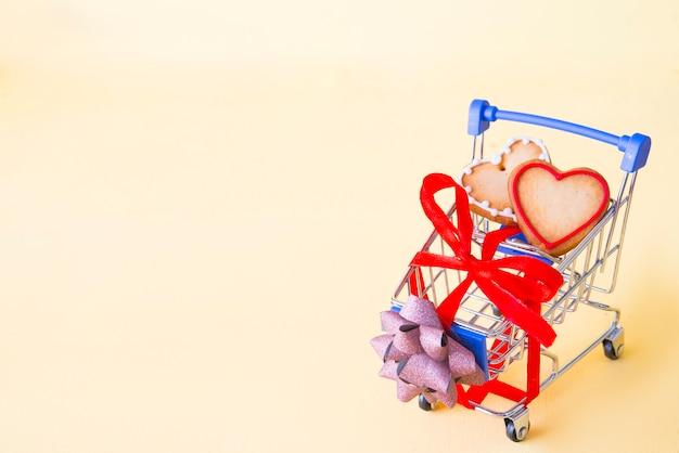 Carrello shooping per san valentino Foto Premium