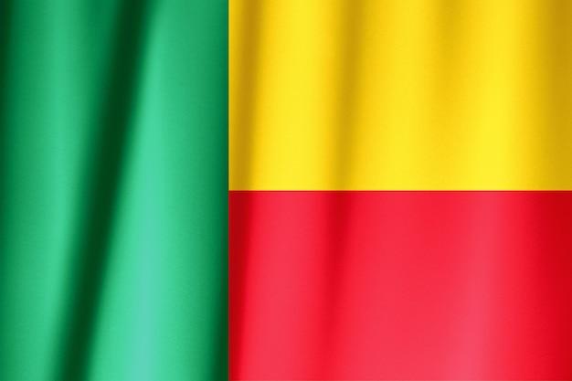 Seta bandiera del benin. bandiera del benin in tessuto di seta. Foto Premium