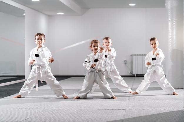Piccolo gruppo di bambini caucasici in dobok che praticano taekwondo e si riscaldano per l'albero stando a piedi nudi. Foto Premium