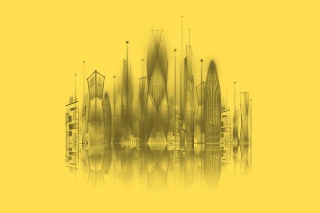 Smart city su sfondo giallo, grande concetto di tecnologia di trasmissione dati. rendering 3d, illustrazione 3d. Foto Premium