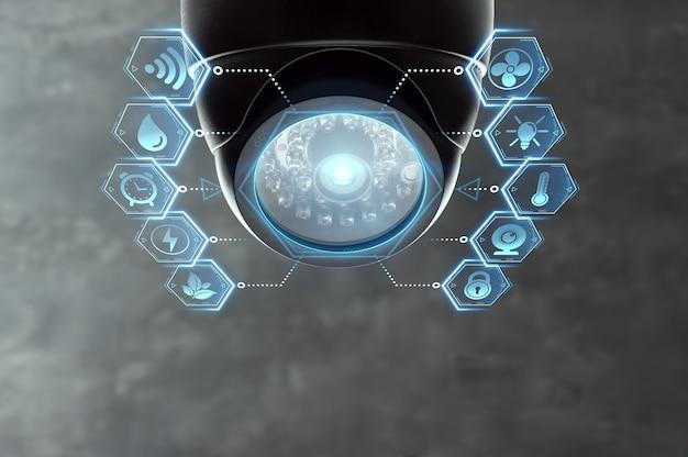 Telecamera cctv per casa intelligente sotto il soffitto. Foto Premium