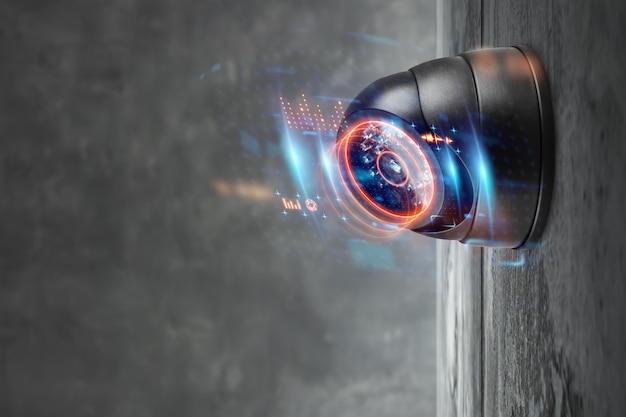 Videocamera di sicurezza domestica intelligente sul muro. Foto Premium