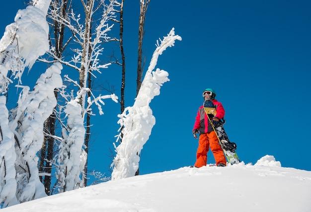 Snowboard in cima alla montagna Foto Premium