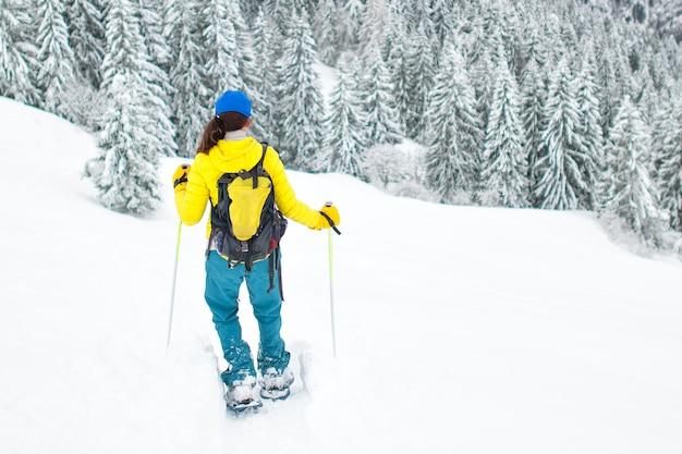 Racchette da neve dopo una grande neve in solitudine Foto Premium