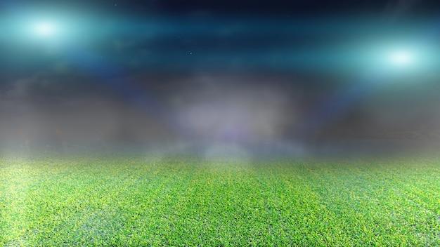 Campo da calcio e faretti luminosi. Foto Premium