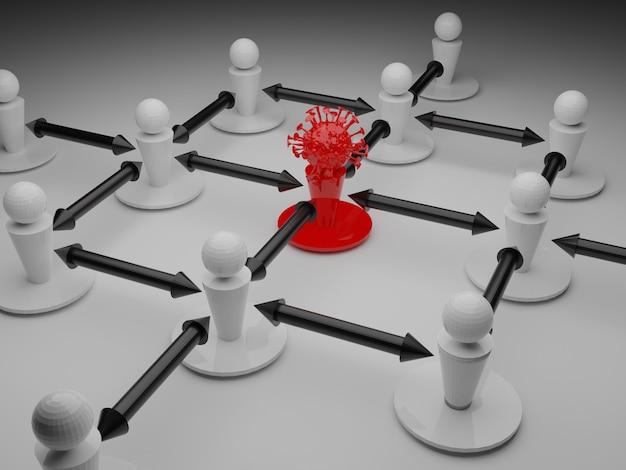 Viene illustrato il distanziamento sociale tra i pezzi causato da una molecola covid 19 Foto Premium