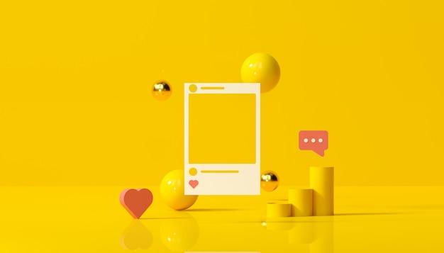 Media sociali con la struttura della foto del instagram e forme geometriche sull'illustrazione gialla del fondo. Foto Premium