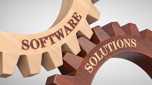 Soluzioni software scritte sulla ruota dentata Foto Premium