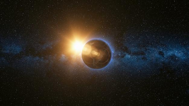 Vista dello spazio sul pianeta terra e il sole nell'universo Foto Premium