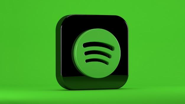 Icona di spotify isolato su verde in un quadrato con bordi smussati Foto Premium
