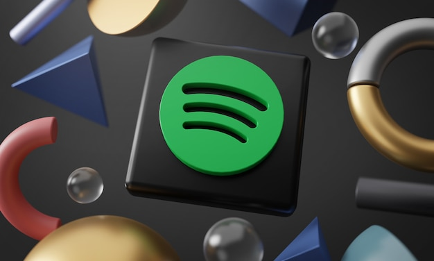 Logo di spotify intorno a 3d che rende forma astratta Foto Premium