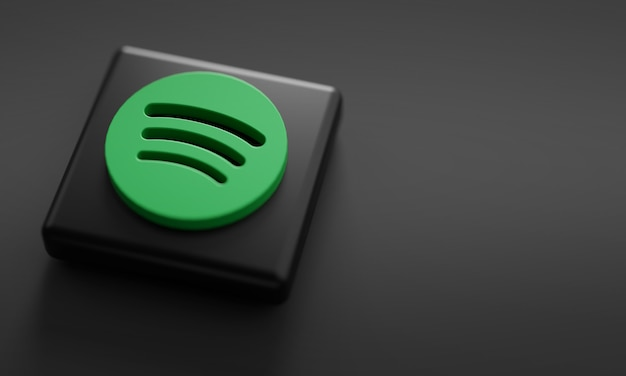 Spotify logo render close up. Foto Premium