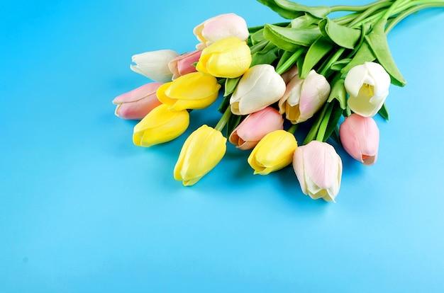 Concetto di primavera o vacanza, un bouquet di tulipani su sfondo blu. Foto Premium