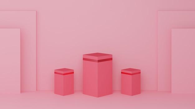Colore pastello rosa podio quadrato e bordo rosa con tre ranghi Foto Premium