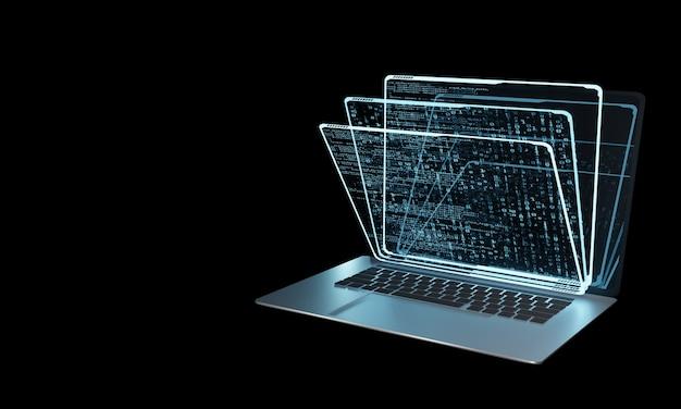 Pila di pannelli ologramma virtuale sul computer portatile Foto Premium