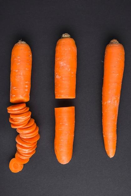 Fasi di taglio della carota Foto Premium