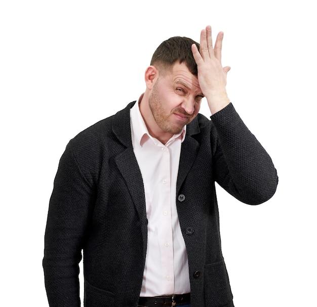 Sottolineato uomo d'affari con la mano sulla fronte, tristezza e concetto deluso Foto Premium