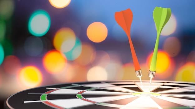 Target dardo con freccia su sfondo sfocato bokeh, metafora per il marketing di destinazione o il concetto di freccia di destinazione. rendering 3d. Foto Premium