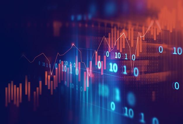Grafico finanziario tecnico su priorità bassa astratta di tecnologia Foto Premium