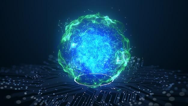 Tecnologia concetto di dati digitali di animazione del cervello di intelligenza artificiale (ai). Foto Premium