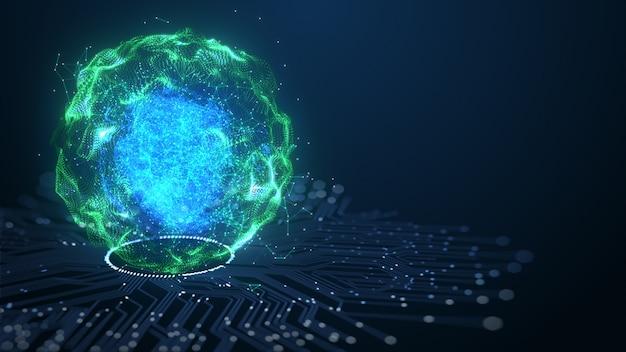 Tecnologia intelligenza artificiale (ai) concetto di dati digitali di animazione del cervello. Foto Premium