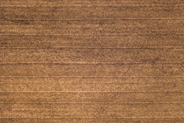 Superficie del terreno strutturata con linee parallele dal coltivatore, sfondo vista dall'alto. terreno fertile. concetto di agricoltura Foto Premium