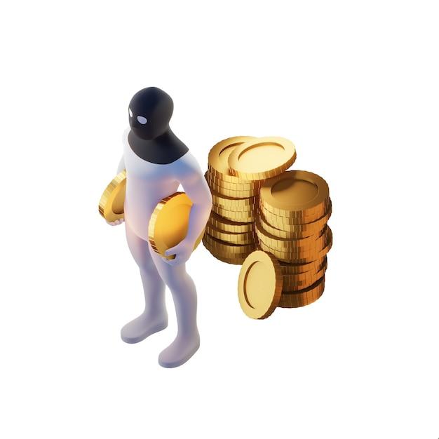 Ladro 3d rendering con monete d'oro. Foto Premium
