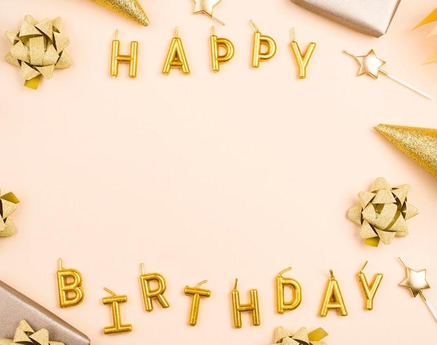 Cornice compleanno circolare vista dall'alto Foto Premium