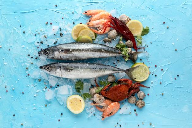 Vista dall'alto di pesce con ghiaccio e granchio Foto Premium
