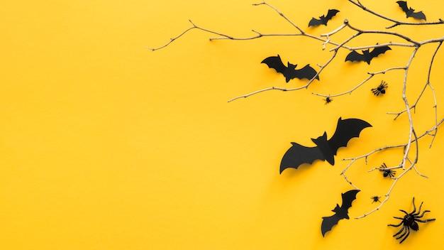 Vista dall'alto concetto di halloween con copia spazio Foto Premium
